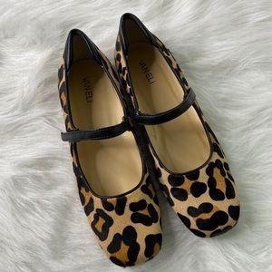 Van Eli Calfskin Leopard Print Maryjane Flat